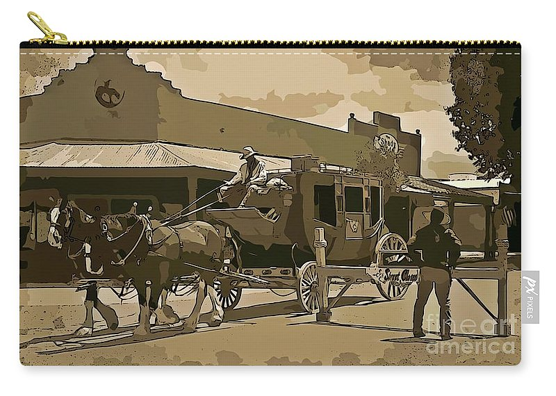 Stagecoach In Old West Arizona Carry-all Pouch featuring the digital art Stagecoach In Old West Arizona by John Malone