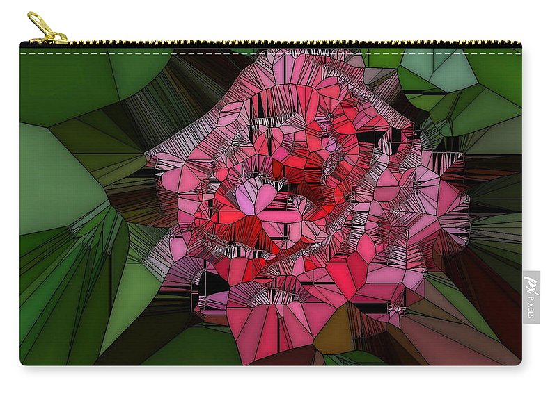 Rose Carry-all Pouch featuring the digital art Stain Glass Rose by April Patterson
