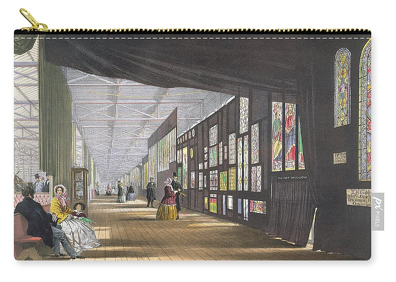Crystal Palace Carry-all Pouch featuring the drawing Stained Glass Gallery, From Dickinsons by English School