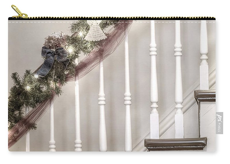 Stairs; Staircase; Side; View; Steps; Wood; Wooden; Details; Railing; Rail; Garland; Greenery; Christmas; Decorations; Angels; Ribbons; Lights; Bows; House; Home; Inside; Indoors; Banister Carry-all Pouch featuring the photograph Stairs At Christmas by Margie Hurwich