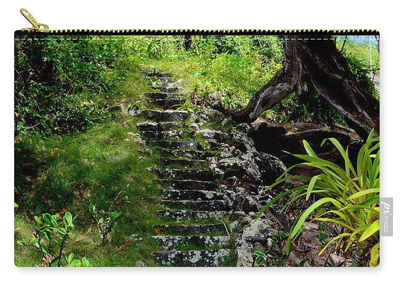 Stairway Carry-all Pouch featuring the photograph Stairway Through The Forest by Mary Deal