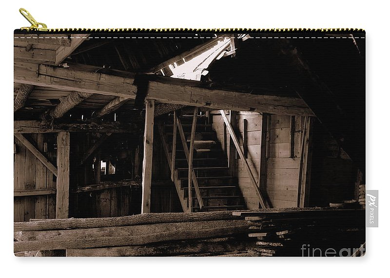 Inside Falling Down Barn Carry-all Pouch featuring the photograph Stairway To The Sky by Kitrina Arbuckle
