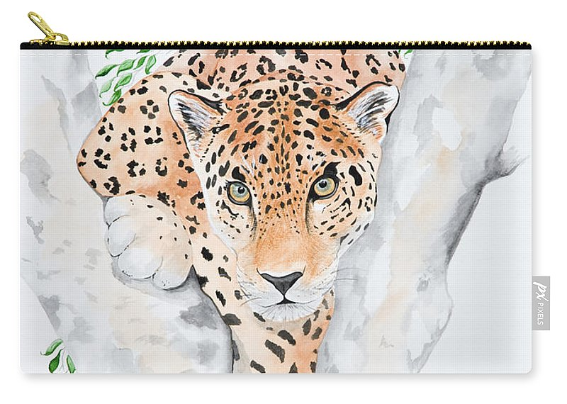 Joette Snyder Carry-all Pouch featuring the painting Stalker In The Trees by Joette Snyder