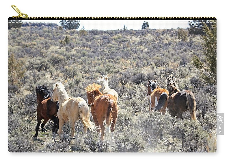 Horses Carry-all Pouch featuring the photograph Stampede Of Wild Horses by Athena Mckinzie