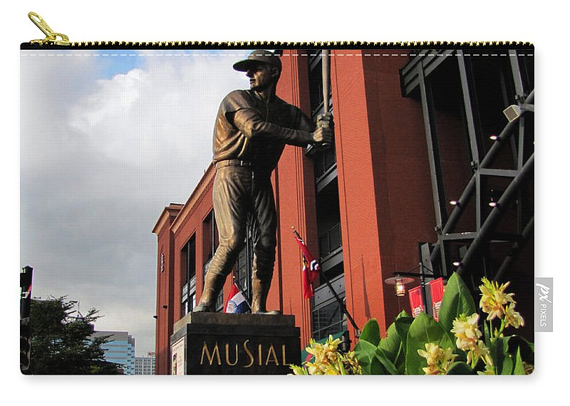 Stan Musial Statues Busch Stadium Carry-all Pouch featuring the photograph Stan Musial Statue by John Freidenberg