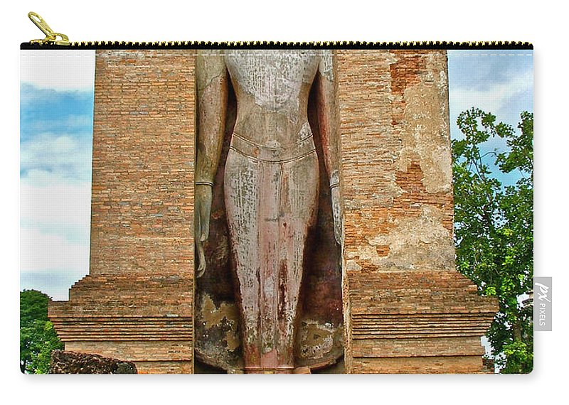 Standing Buddha At Wat Mahathat In 13th Century Sukhothai Historical Park Carry-all Pouch featuring the photograph Standing Buddha At Wat Mahathat In 13th Century Sukhothai Historical Park-thailand by Ruth Hager