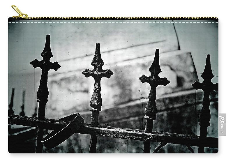 Fence Carry-all Pouch featuring the photograph Standing Guard By Loved Ones - Bw Texture by Scott Pellegrin