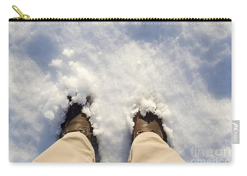 Boots Carry-all Pouch featuring the photograph Standing In The Snow by Mats Silvan