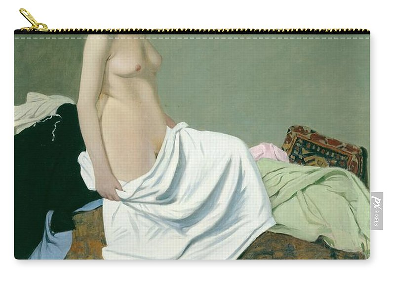 Nude Carry-all Pouch featuring the painting Standing Nude Holding A Gown On Her Knee by Felix Edouard Vallotton