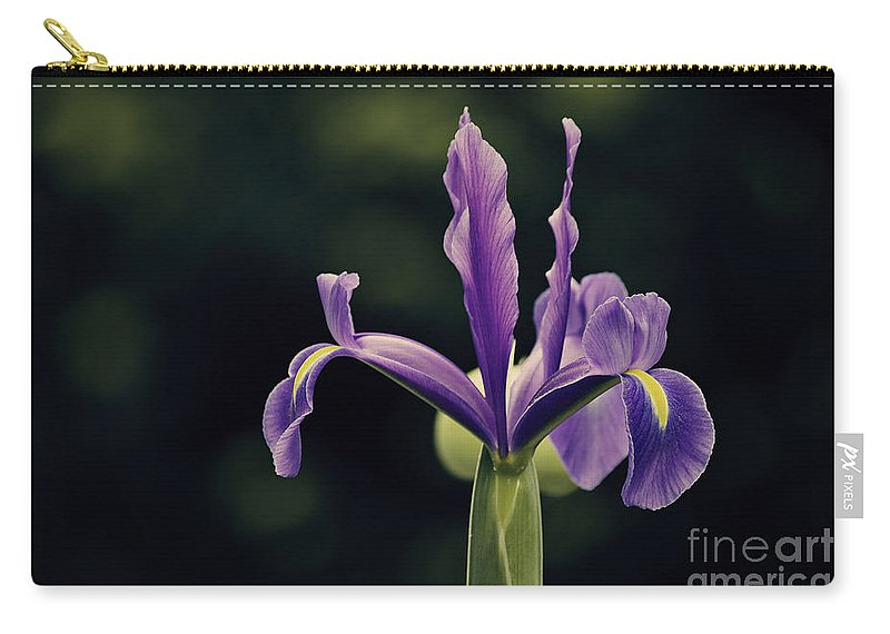 Purple Iris Carry-all Pouch featuring the photograph Standing Proudly by Emily Kay