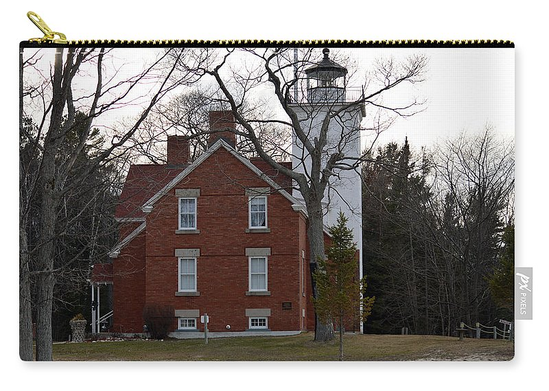 Forty Mile Point Lighthouse Carry-all Pouch featuring the photograph Standing Strong by Linda Kerkau