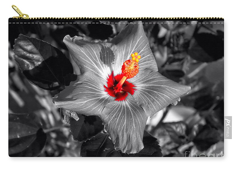 Hibiscus Carry-all Pouch featuring the photograph Star Bright Hibiscus Selective Coloring Digital Art by Thomas Woolworth
