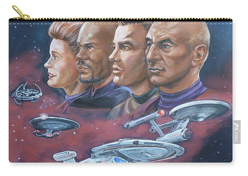 Star Trek Carry-all Pouch featuring the painting Star Trek Tribute Captains by Bryan Bustard