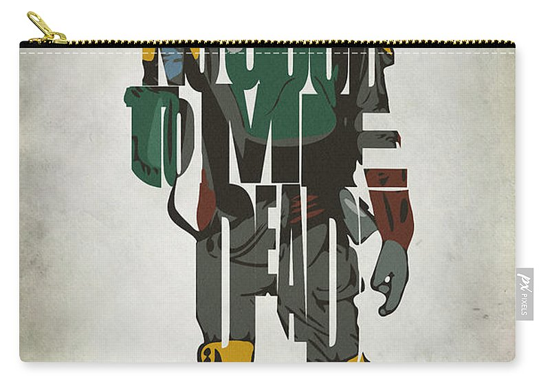 Boba Fett Carry-all Pouch featuring the painting Star Wars Inspired Boba Fett Typography Artwork by Inspirowl Design
