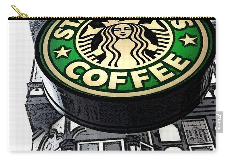 Starbucks Carry-all Pouch featuring the photograph Starbucks Logo by Joan-Violet Stretch