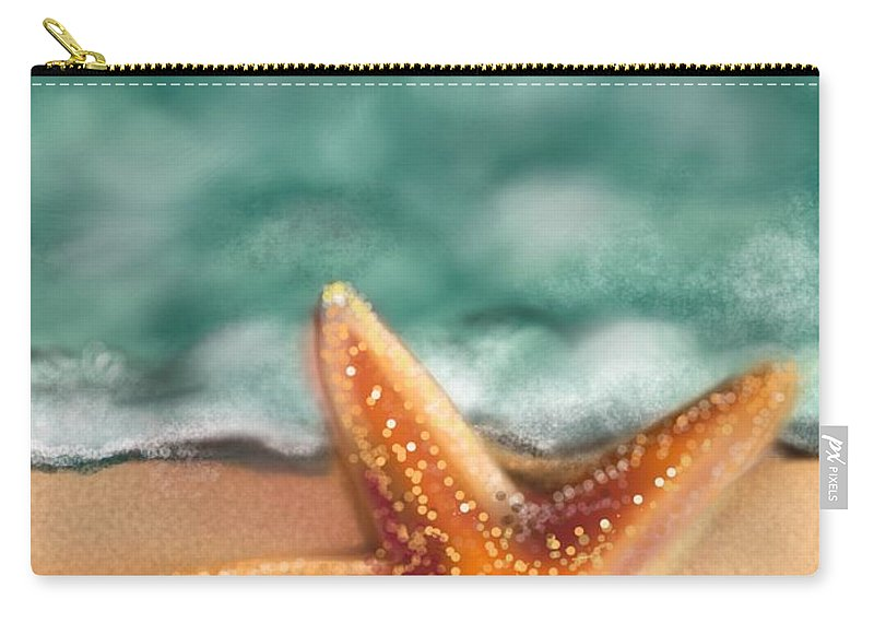 Starfish Carry-all Pouch featuring the digital art Starfish by Christine Fournier