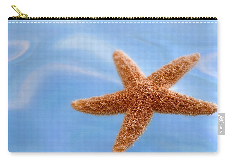 Starfish Carry-all Pouch featuring the photograph Starfish On Blue Water by Carol Leigh