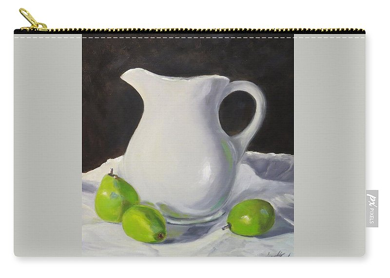 Still Life Carry-all Pouch featuring the painting Stark White With Green by Jean Costa