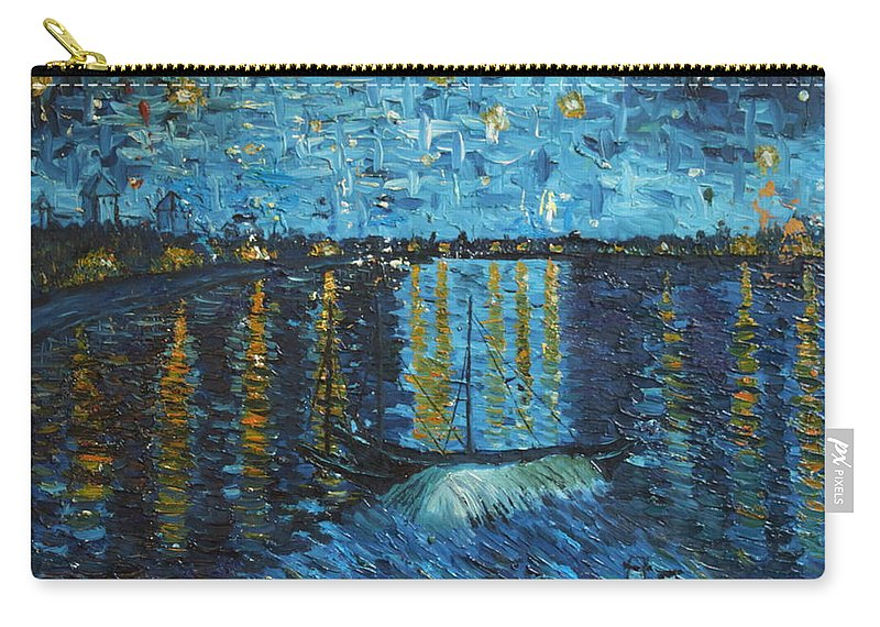 Landscape Carry-all Pouch featuring the painting Starry Night Over The Rhone by Stefan Duncan