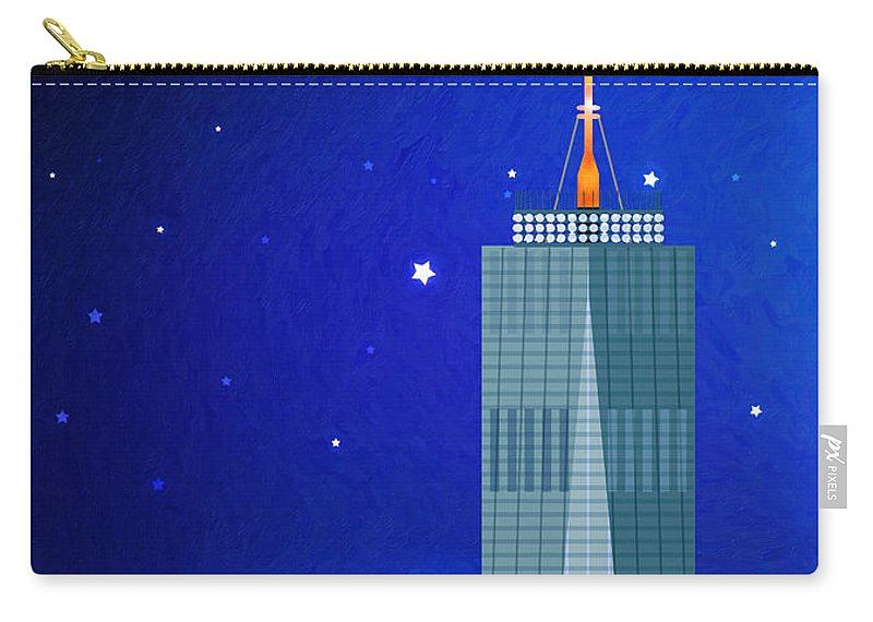 World Trade Center Carry-all Pouch featuring the digital art Starry Nights - Wtc One by Nishanth Gopinathan