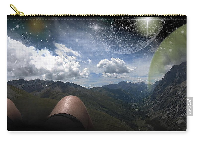 Augusta Stylianou Carry-all Pouch featuring the digital art Stars And Planets In A Valley by Augusta Stylianou