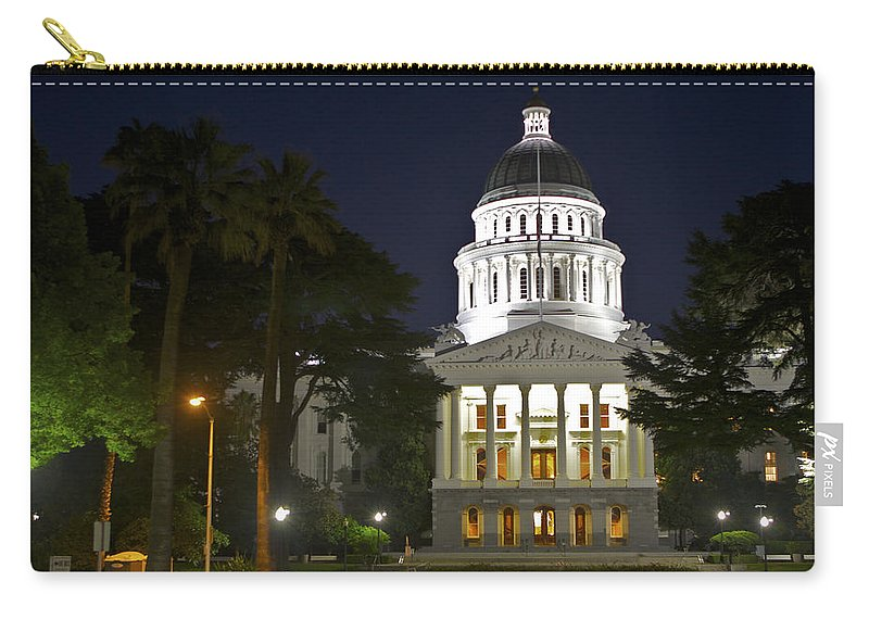 Buildings Carry-all Pouch featuring the photograph State Capitol At Night Sacramento by SC Heffner