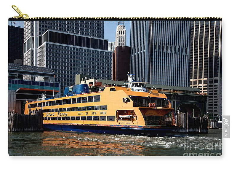 Boats Carry-all Pouch featuring the digital art Staten Island Ferry by Carol Ailles