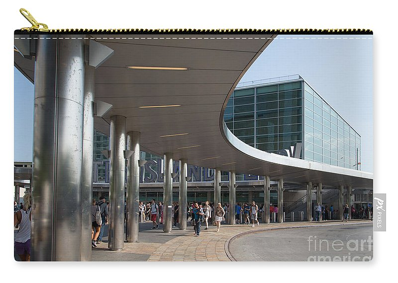 New York Carry-all Pouch featuring the digital art Staten Island Terminal by Carol Ailles