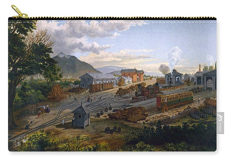Mexico Carry-all Pouch featuring the drawing Station At Orizaba, 1878 by Casimior Castro