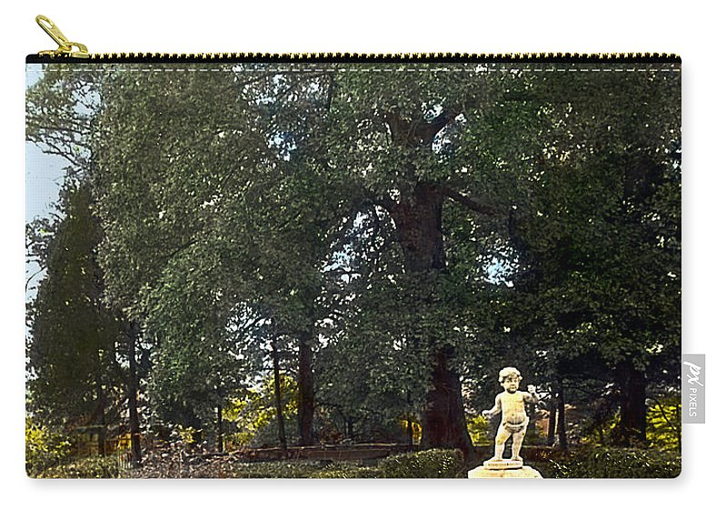 Tranquil Carry-all Pouch featuring the photograph Statue And Tree by Terry Reynoldson