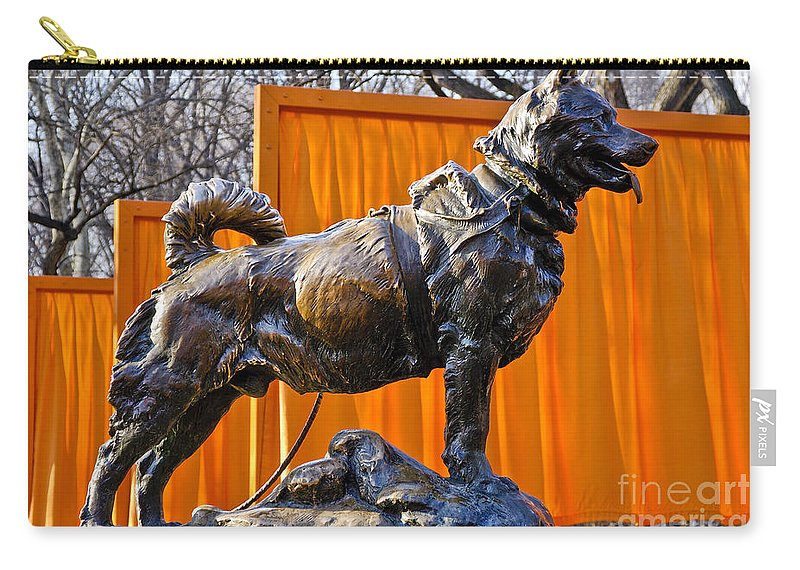 New York City Carry-all Pouch featuring the photograph Statue Of Balto In Nyc Central Park by Anthony Sacco