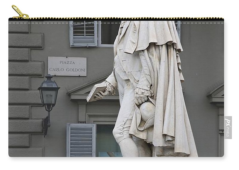 Statue Of Carlo Goldoni Made By Ulisse Cambi In 1873. Florence Carry-all Pouch featuring the photograph Statue Of Carlo Goldoni by Paul Fearn