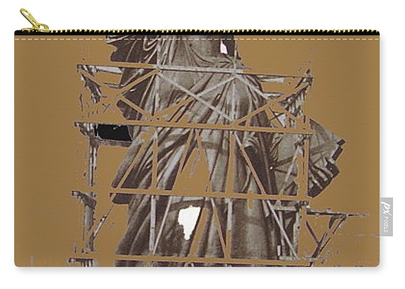 Statue Of Liberty Being Built 1876-1881 Paris France Collage              Pierre Petit Photographer Color Added Carry-all Pouch featuring the photograph Statue Of Liberty Being Built 1876-1881 Paris Collage Pierre Petit           by David Lee Guss