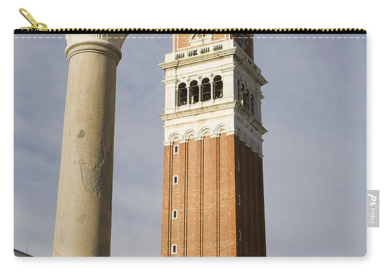 Travel Carry-all Pouch featuring the photograph Statue Of Lion Of St. Mark And The San Marco Bell Tower by Jason O Watson