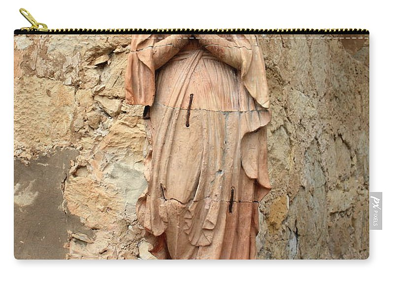 Mother Mary Carry-all Pouch featuring the photograph Statue Of Mary In Mission Garden by Carol Groenen