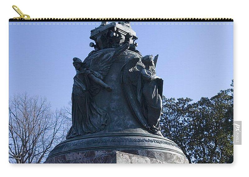 Charlottesville Virginia Uva University Rotunda Lawn Thomas Jeff Carry-all Pouch featuring the photograph Statue Of Thomas Jefferson by Jason O Watson