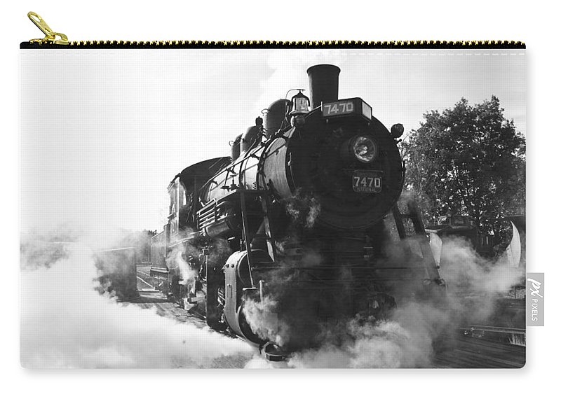 Train Photographs Photographs Carry-all Pouch featuring the photograph Steam And Iron by John Clark