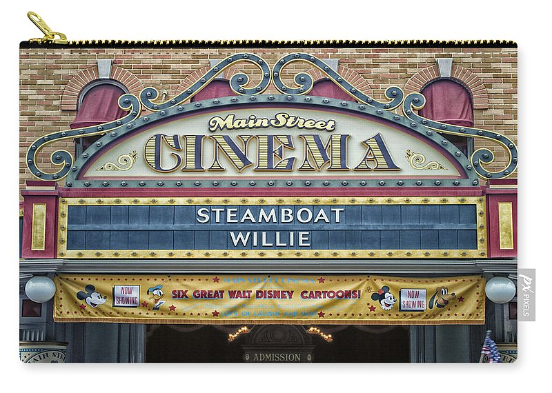 Disney Carry-all Pouch featuring the photograph Steam Boat Willie Signage Main Street Disneyland 01 by Thomas Woolworth