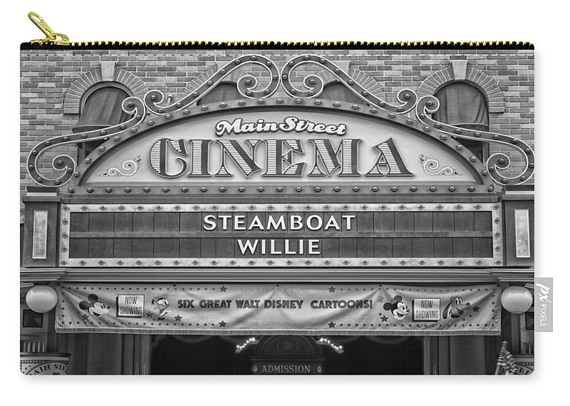 Disney Carry-all Pouch featuring the photograph Steam Boat Willie Signage Main Street Disneyland Bw by Thomas Woolworth