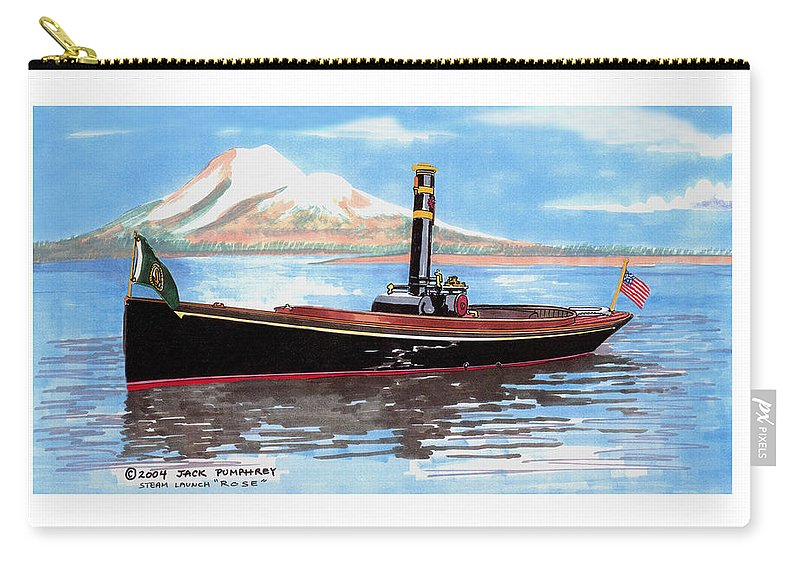 Steam Powered Vessels Carry-all Pouch featuring the painting Steam Launch Rose by Jack Pumphrey