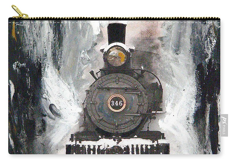 Steam Locomotive Carry-all Pouch featuring the painting Steam Locomotive by Michael Tokarski
