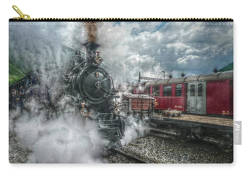 Switzerland Carry-all Pouch featuring the photograph Steam Train by Hanny Heim