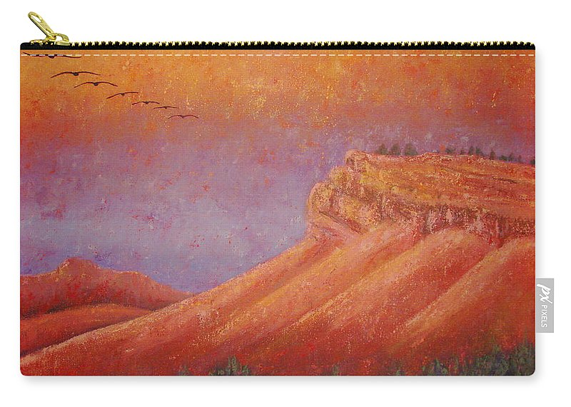 Steamboat Mountain Carry-all Pouch featuring the painting Steamboat Mountain at Sunrise by Margaret Bobb
