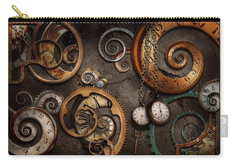 Steampunk Carry-all Pouch featuring the photograph Steampunk - Abstract - Time is complicated by Mike Savad