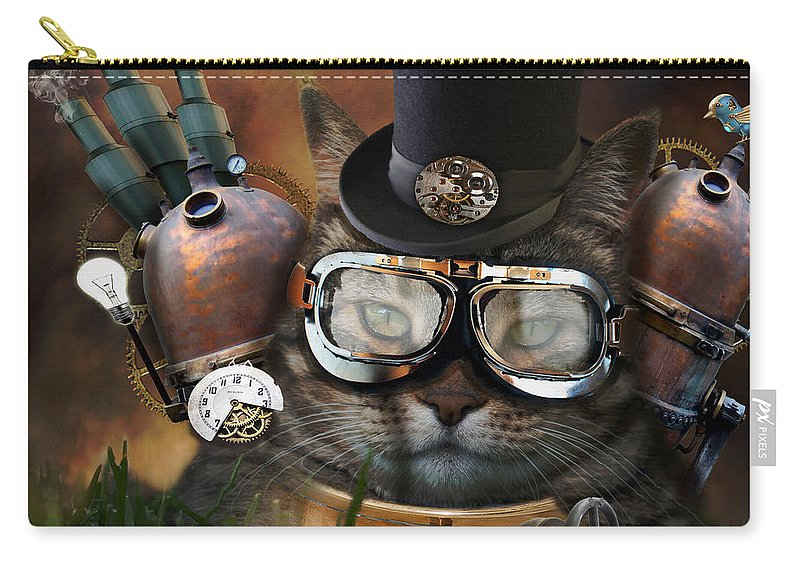 Cat Carry-all Pouch featuring the photograph Steampunk Cat by Juli Scalzi