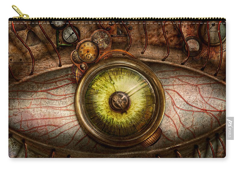 Self Carry-all Pouch featuring the photograph Steampunk - Creepy - Eye On Technology by Mike Savad