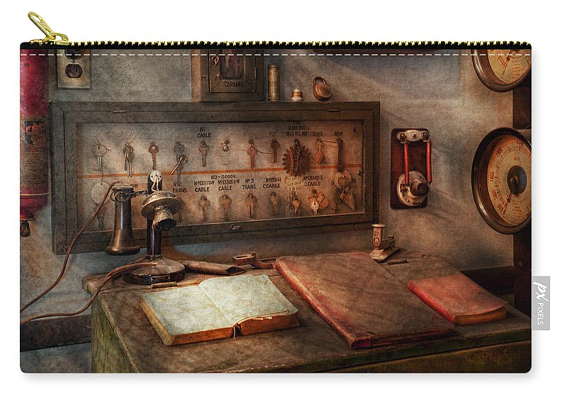 Electric Carry-all Pouch featuring the photograph Steampunk - Electrical - My 9 To 5 Job by Mike Savad