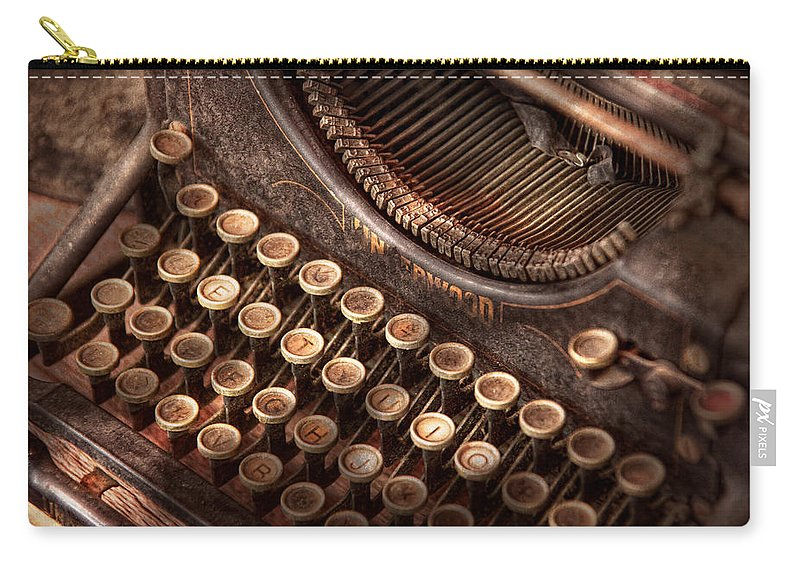 Steampunk Carry-all Pouch featuring the photograph Steampunk - Typewriter - Too Tuckered To Type by Mike Savad