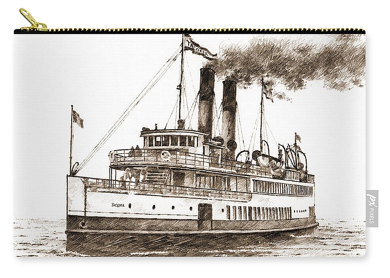 Steamship Carry-all Pouch featuring the drawing Steamship Tacoma Sepia by James Williamson