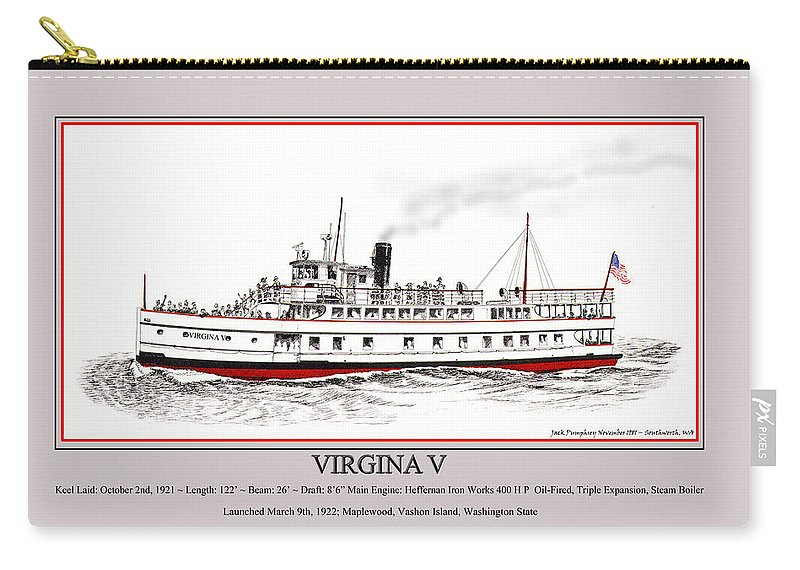 Jack Pumphrey's Ink Drawing Of The Launch Poster Of The Steamship Virginia V Carry-all Pouch featuring the drawing Steamship Virginia V Launch Poster by Jack Pumphrey